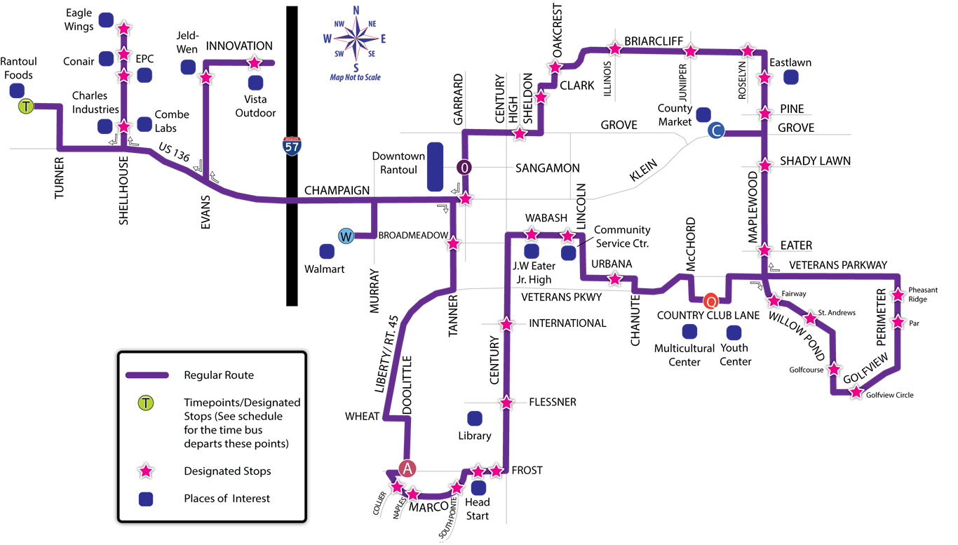 Map of the Eagle Express route.